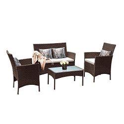 Tangkula Patio Furniture Set 4 Piece Outdoor Pool Lawn Backyard Rattan Wicker Cushioned Sofas Lo ...