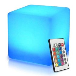 Mr.Go 16-inch 40cm Rechargeable LED Light Cube Stool Waterproof with Remote Control Magic RGB Co ...