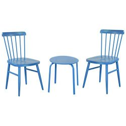 KCHEX>3PCS Patio Table Chairs Furniture Set Bistro Garden Lawn Pool Side Steel Blue>This 3 ...