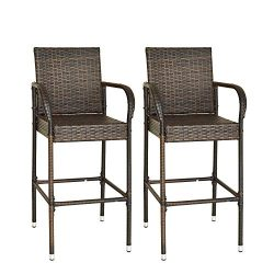 soges Bar Stools of 2 Outdoor Chairs Bar Set Wicker Patio High Chairs with Armrest Footrest Back ...