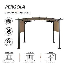 Suna Outdoor Patio 12 x 9 Ft Pergola Gazebo, Outdoor Patio Sunshelter Steel Frame Pergola Retrac ...