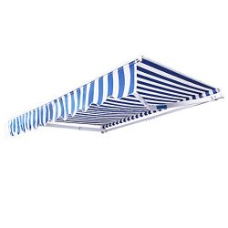 VIVOHOME Outdoor Manual Retractable Patio Awning 10ft x 8ft Blue & White