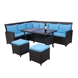 LZ LEISURE ZONE 6-Piece Patio Dining Sets, PE Rattan Sectional Outdoor Patio Furniture Wicker So ...