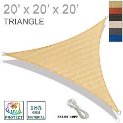 SUNNY GUARD 20′ x 20′ x 20′ Sand Triangle Sun Shade Sail UV Block for Outdoor  ...