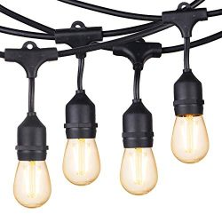 Brightown 48Ft. Shatterproof Outdoor String Light S14 with 15 Dimmable LED Vintage Edison Bulbs- ...