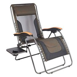 PORTAL Oversized Mesh Back Zero Gravity Recliner Chairs, XL Padded Seat Adjustable Patio Lounge  ...