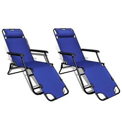 Tidyard Sunlounger 2 pcs with Footrest Foldable Adjustable Blue Headrest Soft Foldable Convenien ...