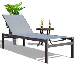 Kozyard Modern Full Flat Alumium Patio Reclinging Adustable Chaise Lounge with Sunbathing Textil ...