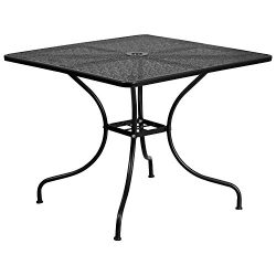"Flash Furniture 35.5"" Square Black Indoor-Outdoor Steel Patio Table"