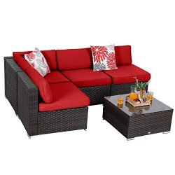 PHI VILLA Outdoor Furniture Wicker Patio Sectional Sofa Couch Set with Tea Table (5-Piece,Red)