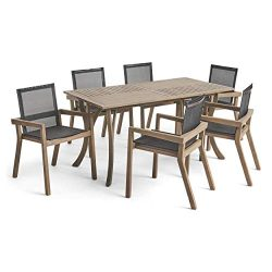 Great Deal Furniture Kaur Patio Dining Set | 6-Seater | Rectangular Dining Table | Acacia Wood | ...