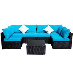 Outdoor Patio Furniture 7-Pieces PE Rattan Wicker Sectional Blue Cushioned Sofa Sets with 2 Pillows