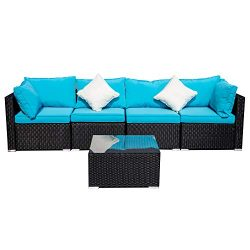 Outdoor Patio Furniture 5-Pieces PE Rattan Wicker Sectional Blue Cushioned Sofa Sets with 2 Pillows
