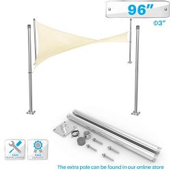 PATIO Sun Shade Sail Canopy Pole Post Kit 8′ Feet Tall (96″) Stand Post Heavy Duty M ...