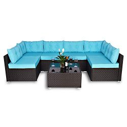 Amolife 7 Piece Outdoor Patio Furniture Sets,Garden Lawn Pool Backyard Wicker Rattan Sectional C ...