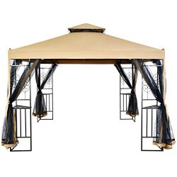 Suna Outdoor 10×10 Ft Outdoor Gazebo Steel Frame Two-Tiered Top Canopy, Heart Screen Decor  ...