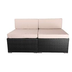 VANERUM 2 Piece Outdoor Patio PE Rattan Wicker Sofa Sectional Furniture Set (Black) | Use for Pa ...