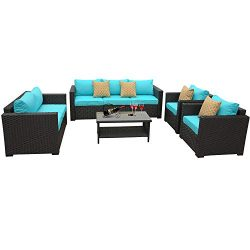 5-Piece Patio Wicker Furniture Set- Outdoor Conversation Cushioned Seat Couch Chair Sofa PE Ratt ...