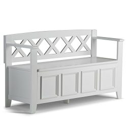 Simpli Home AXCAB-BNCH-W Amherst Solid Wood 48 inch wide Transitional Entryway Storage Bench in  ...