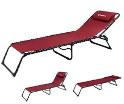 KingCamp Chaise Lounge Folding Cot Camping Adjustable Recliner Sunbathing Beach Pool Bed Cot wit ...