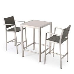 Crested Bay Patio Furniture ~ 3 Piece Grey Outdoor Wicker and Aluminum Bar Set with Tempered Gla ...