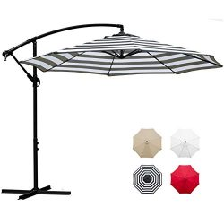 Sunnyglade 10′ Outdoor Adjustable Offset Cantilever Hanging Patio Umbrella (Black and White)