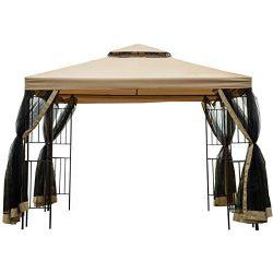 Sunnyglade Garden Gazebo Polyester Fabric 10′ x 10′ Patio Backyard Double Roof Vente ...