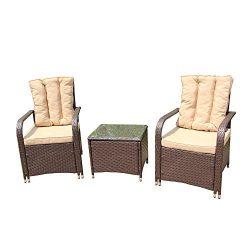ALEKO RTF009BR Rattan Wicker 3 Piece Indoor Outdoor Conversation Set Furniture Chairs and Table  ...