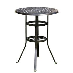 "YUSING 30.5"" Cast Aluminum Pub Height Bistro Round Table for Oudoor Paito – 41″ Heig ..."