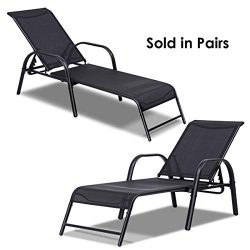 Giantex 2 Pcs Outdoor Patio Chaise, Adjustable Lounge Chairs Patio Furniture, Backyard Lawn Slin ...