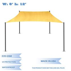 E&K Sunrise 8′ x 12′ Waterproof Sun Shade Sail-Yellow Rectangle UV Block Durable ...