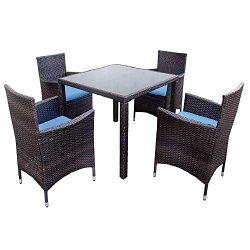 LZ LEISURE ZONE Outdoor 5 Pieces Patio Dining Set Garden PE Rattan Dining Furniture Sets with 4  ...