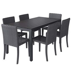 CorLiving PCL-205-Z2 Brisbane Patio Dining Set, Black