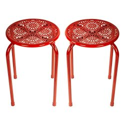 dar Living Daisy Metal Stool, Red (2-Pack)