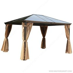 MASTERCANOPY Patio Polycarbonate Gazebo Canopy Hardtop Gazebo with Brown Mosquito Netting Screen ...