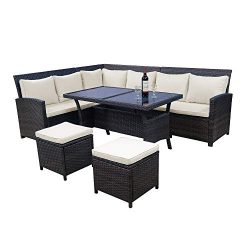LZ LEISURE ZONE 6-Piece Patio Dining Sets PE Rattan Outdoor Sectional Patio Furniture Wicker Sof ...