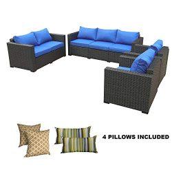 Rattaner Outdoor Wicker Furniture Set -4 Piece Patio PE Rattan Garden Sectional Conversation Cus ...