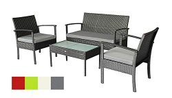 Stellahome Rattan Patio Furniture Sets 4 Pieces Outdoor Seating Wicker Porch Furniture Loveseat  ...