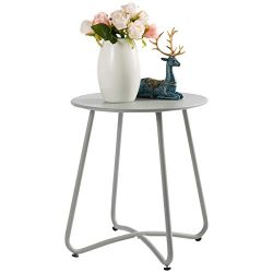 HollyHOME Small Round Patio Metal Side Snack Table, Accent Anti-Rust Steel Coffee Table for Gard ...