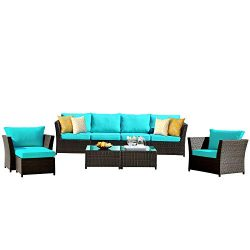 ovios Patio Furniture Set, Backyard Sofa Outdoor Furniture 9 Pcs Sets,PE Rattan Wicker sectional ...