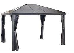Sojag 10′ x 12′ Verona Hardtop Gazebo Outdoor Sun Shelter, Charcoal