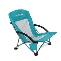 KingCamp Low Sling Beach Camping Concert Folding Chair, Low and High Mesh Back Two Versions (Cya ...
