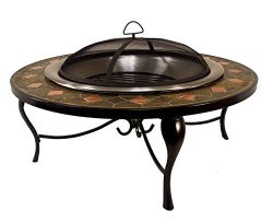 Catalina Creations 40″ Round Heavy Duty Mosaic Patio Fire Pit with Stainless Steel Bowl, C ...