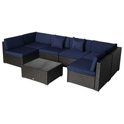 Outsunny 7 Piece Wicker Rattan Sofa Sectional Outdoor Patio Furniture Set- Blue