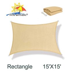 Patio Watcher 15′ x 15′ Square Sun Shade Sail Perfect for Outdoor Patio Garden Sand