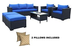 Outdoor PE Wicker Rattan Sofa -6 Pcs Patio Garden Sectional Conversation Cushioned Seat Couch Fu ...