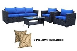 4-Piece Outdoor Wicker Rattan Furniture Set-Patio Garden Sectional Conversation Couch Cushioned  ...