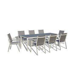UrbanFurnishing.net – 9 Piece Modern Outdoor Patio Dining Set – White/Gray