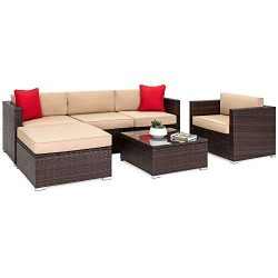 Best Choice Products 6-Piece Outdoor Patio Sectional Wicker Furniture Set for Backyard, Pool, Ga ...