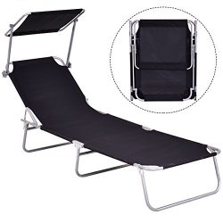 Gymax Lounge Chair, Folding Recliner Patio Chair for Outdoor Patio Garden Beach Pool with Adjust ...